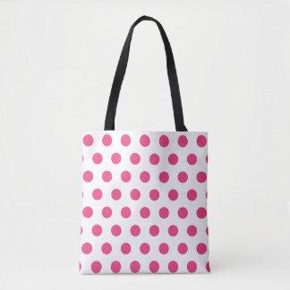 pink and white polka dot pattern tote bag
