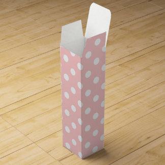 Pink and White Polka Dot Pattern Wine Gift Box