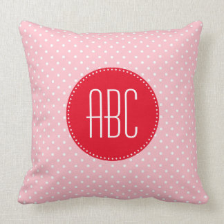 Pink and White Polka Dot Red Monogrammed Throw Pillow