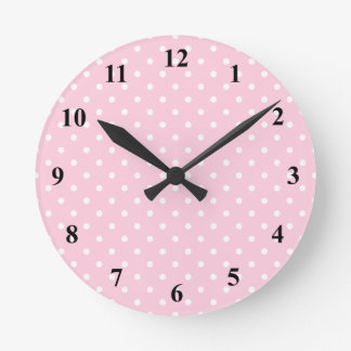 Pink and white polka dot wall clock | Customizable