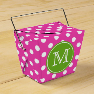 Pink and White Polka Dot With Green Apple Monogram Wedding Favor Box
