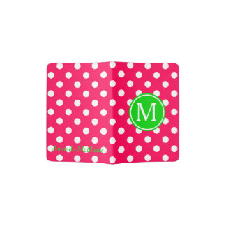 Pink and White Polka Dot With Green Monogram Passport Holder