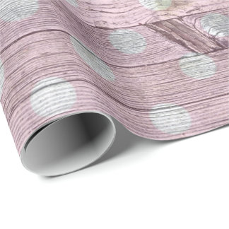 pink and white polka dot woodgrain wrapping paper