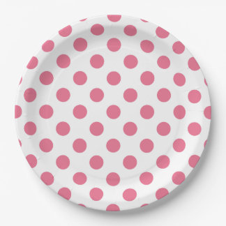 Pink and white polka dots 9 inch paper plate