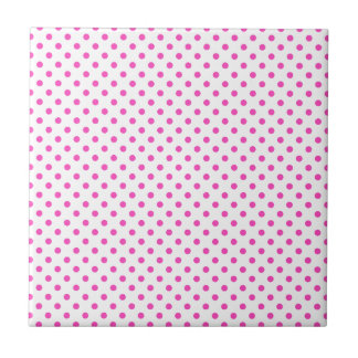 Pink and White Polka Dots Ceramic Tile