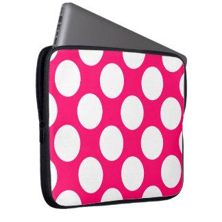 Pink and White Polka Dots Electronics Bag