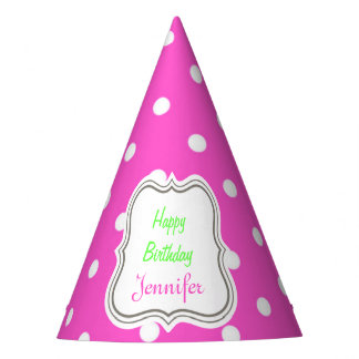 Pink and white polka dots modern cute party hat