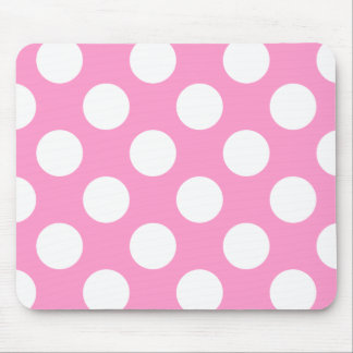 Pink and White Polka Dots Mousepad