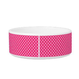 Pink and White Polka Dots Pattern Bowl