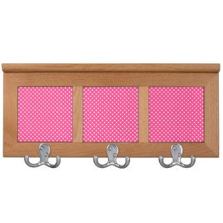 Pink and White Polka Dots Pattern Coat Racks