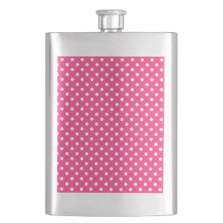 Pink and White Polka Dots Pattern Hip Flask
