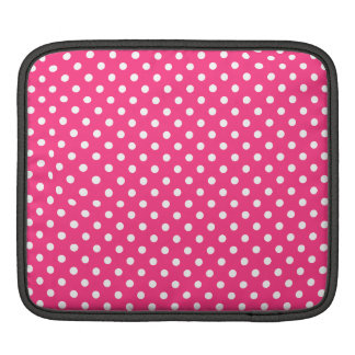 Pink and White Polka Dots Pattern iPad Sleeves