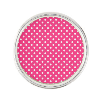 Pink and White Polka Dots Pattern Lapel Pin
