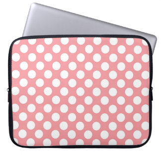 Pink and white polka dots pattern laptop computer sleeves