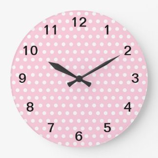 Pink and White Polka Dots Pattern. Large Clock