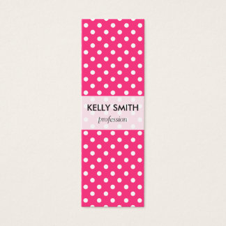 Pink and White Polka Dots Pattern Mini Business Card