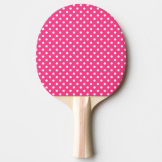 Pink and White Polka Dots Pattern Ping Pong Paddle