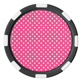Pink and White Polka Dots Pattern Poker Chips Set