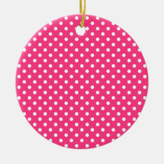 Pink and White Polka Dots Pattern Round Ceramic Ornament