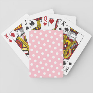 Pink and White Polka Dots Playing Cards
