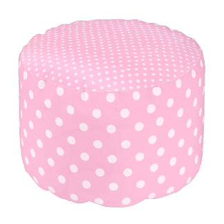 Pink and White Polka Dots Pouf