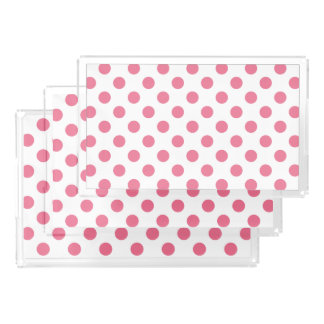 Pink and white polka dots serving tray