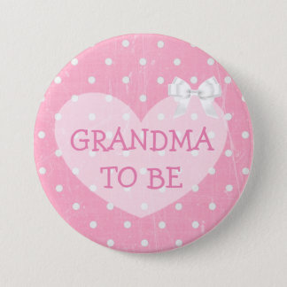 Pink and White Polka Dotted Grandma To Be Button