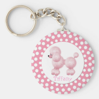 Pink and White Poodle Key Chain