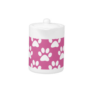 Pink and white puppy paws pattern