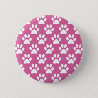 Pink and white puppy paws pattern 2 inch round button