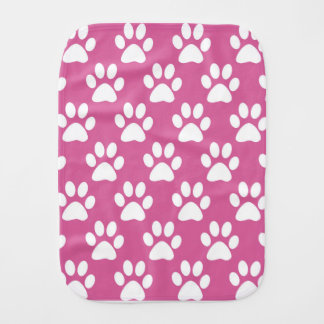 Pink and white puppy paws pattern baby burp cloths