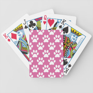 Pink and white puppy paws pattern bicycle playing cards