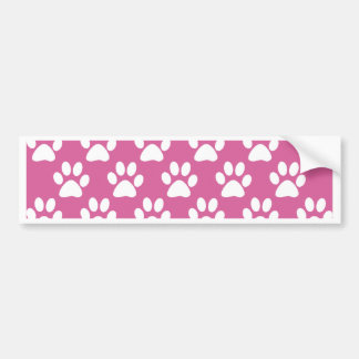 Pink and white puppy paws pattern bumper sticker