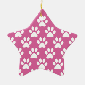 Pink and white puppy paws pattern ceramic ornament