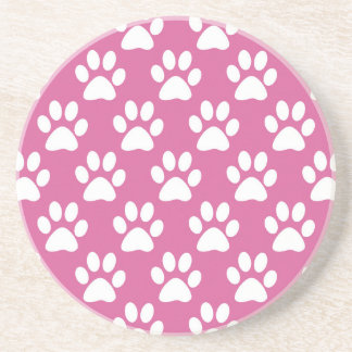 Pink and white puppy paws pattern coaster