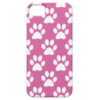 Pink and white puppy paws pattern iPhone 5 covers