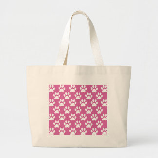 Pink and white puppy paws pattern large tote bag