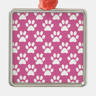 Pink and white puppy paws pattern metal ornament
