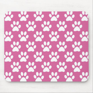 Pink and white puppy paws pattern mouse pad