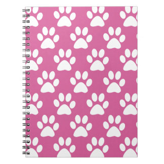 Pink and white puppy paws pattern notebook