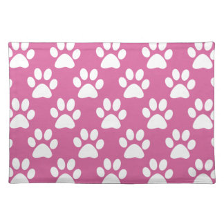 Pink and white puppy paws pattern placemat