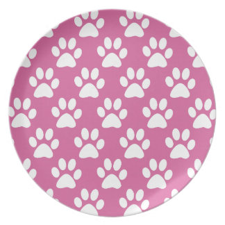 Pink and white puppy paws pattern plate
