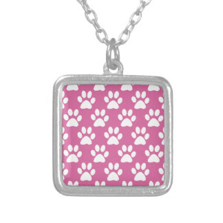 Pink and white puppy paws pattern silver plated necklace
