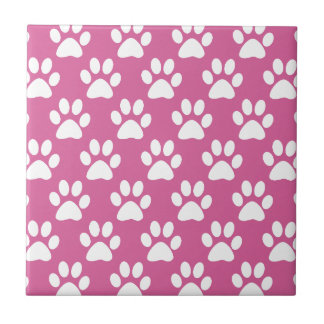 Pink and white puppy paws pattern tile