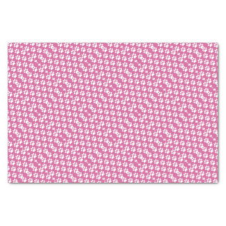 Pink and white puppy paws pattern tissue paper