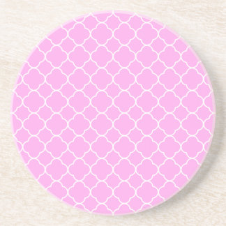 Pink And White Quatrefoil Pattern Coaster