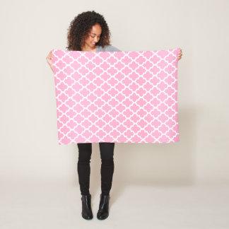Pink and White Quatrefoil Pattern Fleece Blanket