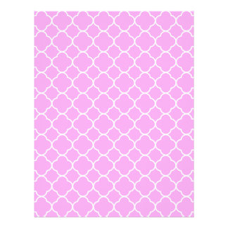 Pink And White Quatrefoil Pattern Letterhead