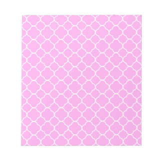 Pink And White Quatrefoil Pattern Notepad