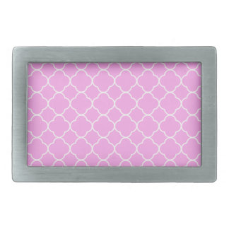 Pink And White Quatrefoil Pattern Rectangular Belt Buckles